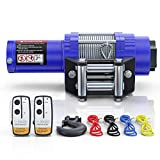 BIGTUR ATV/UTV Electric Winch 12V 4500lbs Towing Steel Cable Winch Off-Road Recovery with Wireless Remote Control/Mounting Bracket (H-Model/Blue)
