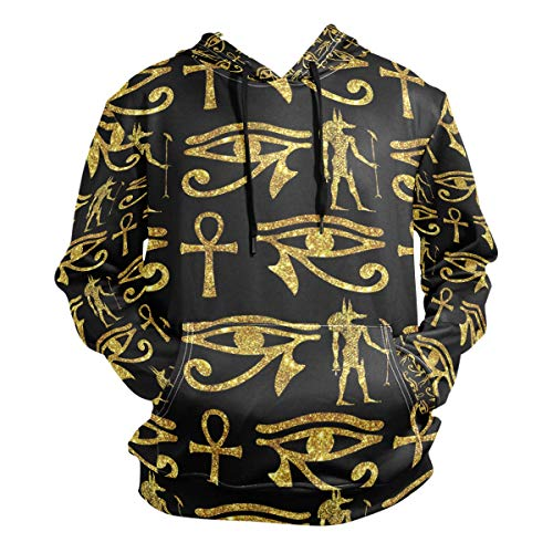Ancient Egyptian Ankh Gold Men's Hipster Hip Hop Classic Pullover Long Hoodie Sweatshirts Jacket