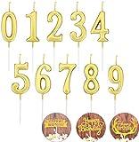 NC Numero Candele Compleanno Candele Torta Numero Candele Numero 0-9 Cake Topper Decorazione per Torta Compleanno Torta Festa 10 Pezzi (Oro)