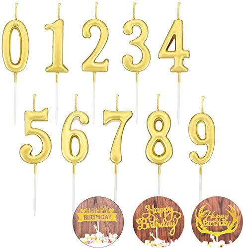 N\C Velas de número de cumpleaños, Velas de Pastel, número de Velas de 0 a 9, decoración para Tartas de cumpleaños, Fiesta de Tartas, 10 Piezas (Oro)