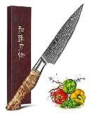 HEZHEN Cuchillo Universal de 12.5cm, hoja afilada, patrón de acero de Damasco, cuchillo de pelar multifuncional VG10,Cuchillo profesional para frutas, mango de madera ergonómico