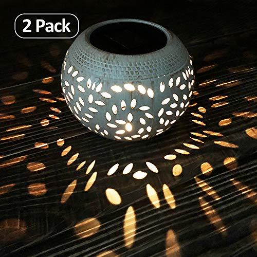 Petrala Solar Table Lights Outdoor Waterproof 8 Lumen White Metal Decorative Lighting Lantern for Desk Patio 2 Pack
