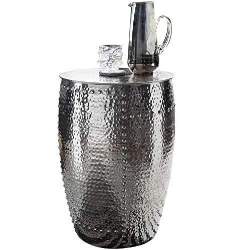 FineBuy Beistelltisch PADRO 41,5 x 62 x 41,5 cm Aluminium Silber Dekotisch orientalisch rund | Kleiner Hammerschlag Abstelltisch | Designer Ablagetisch Metall modern | Anstelltisch schmal