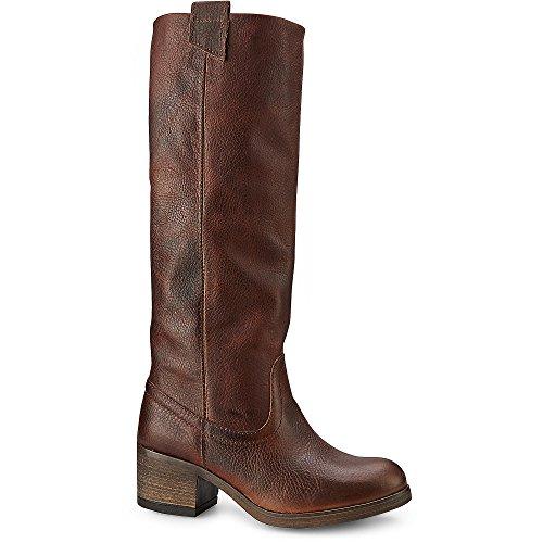 Cox Damen Gaucho Stiefel, braune Leder Boots mit extra weitem Schaft und Anziehschlaufen Braun Leder 37