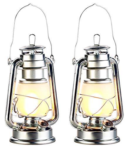 Lunartec Öllampen: 2er-Set LED-Sturmlaternen mit Flammen-Effekt, 25 cm Höhe, silberfarben (Deko-Sturmlampe)
