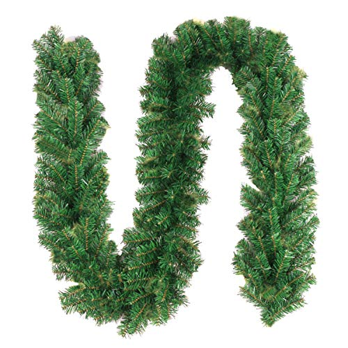 TQS 10Ft Christmas Garland Outdoor Xmas Garland - Artificial Garland Greenery Garland, Suitable for Christmas Decorations, Green Non-Lit Holiday Decor for Outdoor or Indoor - 10 Foot by 10 Inch