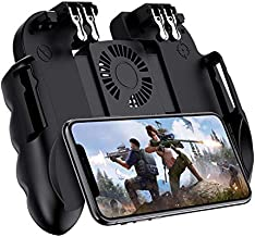 "Mobile Game Controller with Cooling Fan for PUBG/Call of Duty/Fortnite Gaming Grip Gamepad Wireless Mobile Gaming Joystick for 4.7-6.5"" iOS Android Phone [6 Finger Operation] (Color : Black)"