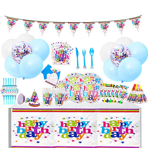 QAQGEAR Birthday Party Supplies Decorations Set- Sirve paquetes 6 colores Incluye cubiertos cucharas tenedores platos...
