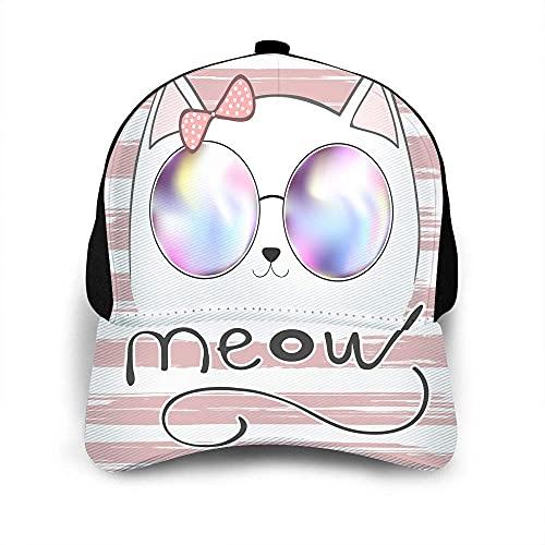 VJSDIUD Cute Cat Hat Gorra de béisbol para Hombres Mujeres Kitty Sweet Animal Kitten con Gafas Letras Meow Pink Bow Gorra de béisbol Blanca Unisex Sombreros Ajustables