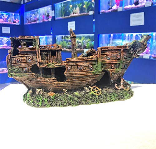 Mezzaluna Gifts Eagle One Piece 30 cm Shipwreck Aquarium Fish Tank Ship Ornament
