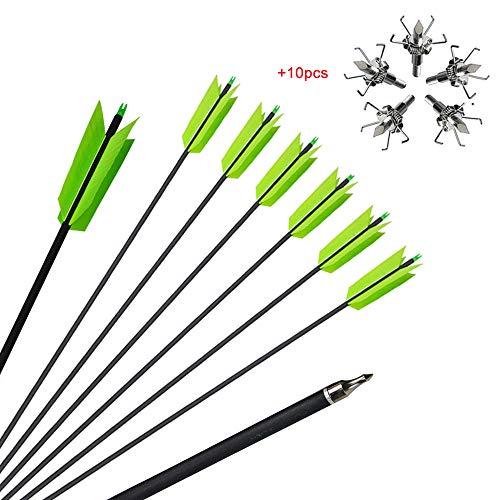 ZSHJG 10pcs Bogenschießen Carbonpfeile 30 Zoll Flu Flu Pfeile Pfeile für Bogen Spine 400 Jagdpfeile für Compound Recurve-Bögen (Grün 2)