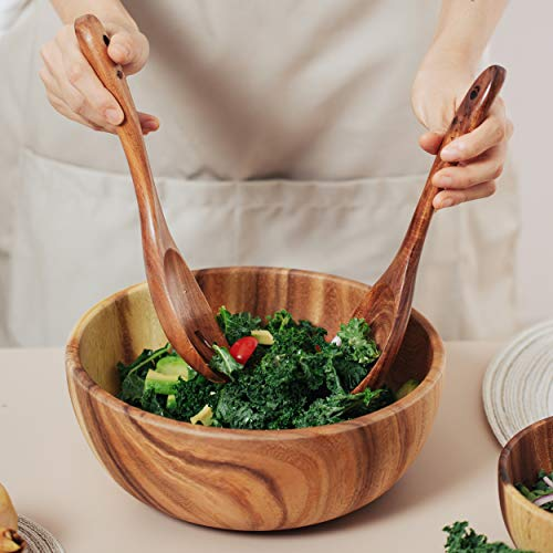 Acacia Wood Salad Bowl with Servers Set - Large 9.4 inches Solid Hardwood Salad Wooden Bowl with Spoon for Fruits ,Salads and Decoration by AVAMI