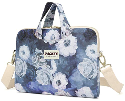 Dachee Grey Rose Patten Waterproof Laptop Shoulder Messenger Bag Case Sleeve for 14 Inch 15 Inch Laptop Case Laptop Briefcase 15.6 Inch