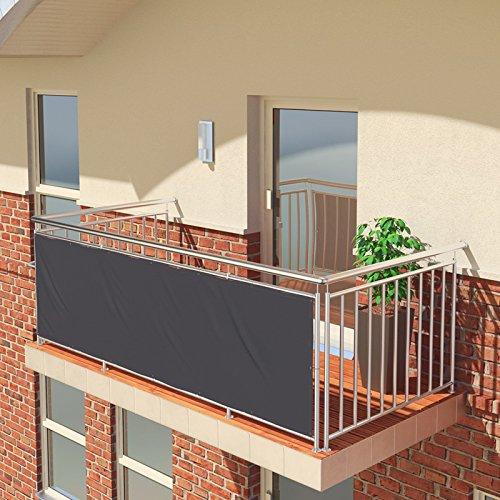 BALCONIO Balkon Sichtschutz wasserabweisend Balkonbespannung Balkonabdeckung für Balkon Terrasse aus Polyester-300 x 85 cm-Anthrazit