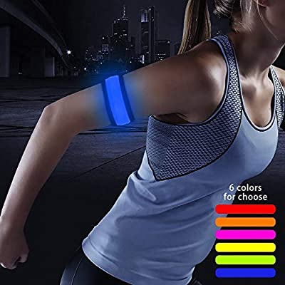 Higo LED Slap Bracelet, Glow in The Dark Sports Event Wristbands, Safety Reflective Gear Light Up Armbands for Running, Cycling, Jogging, Hiking (Blue(35cm))