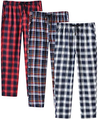 JINSHI Hombre Pantalones Largos de Pijama Algodón Casa Invierno Pantalón Cálido a Cuadros con Bragueta de Botón 3 Pack L