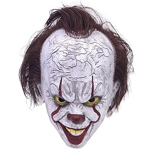 tggh Máscara de látex de Halloween, máscara de látex, máscara de Halloween de miedo, máscara divertida de payaso con accesorios de disfraz de pelo (color: A)