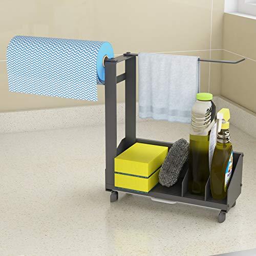 Kitchen Sink Caddy Organizer Storage Sponge Soap Brush Holder with Drain Pan Stainless Steel - Silver