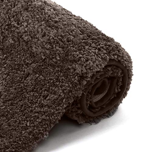 Uphome Bathroom Rugs Luxury Shaggy Chocolate Bath Mat 17x24 inch Thick Non-Slip Entry Door Carpet Soft Plush Machine-Washable Floor Rugs for Bathtub Shower Doormats