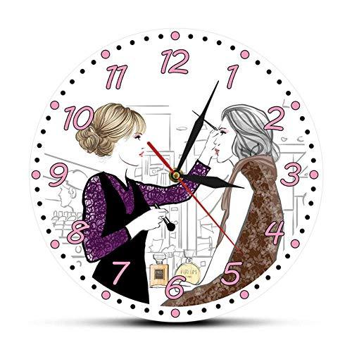 ZHENAO Creative Wall Clock It's Fasher O'Clock Makeup Fashion Eyelash Extensions Laz Reloj de Pared Eyelash Wall Clock Technician Regalo No hay garrapata
