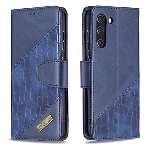 HSRWGD Galaxy S21 FE Flip Case para Samsung S21 FE Funda cartera, Antideslizante Antigolpes, Suave TPU Piel Protectora (Azul)