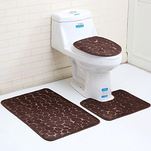 Ensemble de tapis de bain antidérapant avec tapis de bain ou couvercle de WC – Tapis de bain en mousse à mémoire de forme respirant absorbant l'eau – Tapis de salle de bain antidérapant, marron, 3pcs