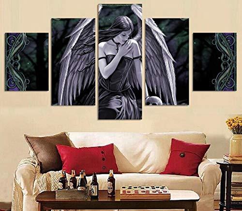ARXYD 5 stuks canvas gedrukt kunst canvas 5 planken Hd druk engel meisjes schedel schilderij kinderkamer decoratie druk poster afbeelding canvas moderne wand decoratie canvas afbeelding Hd Schilderen 200*100 CM A1.