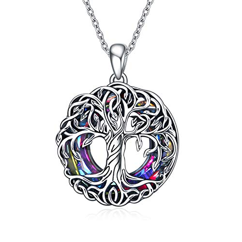 TOUPOP,Tree of Life Necklaces Sterling Silver Celtic Family Tree Necklace with Circle Volcano Crystal Family Jewelry Gifts for Mom Women Teen Girls Birthday Friend
