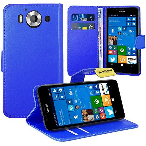 Microsoft Lumia 950 Handy Tasche, FoneExpert® Wallet Hülle Flip Cover Hüllen Etui Ledertasche Lederhülle Premium Schutzhülle für Microsoft Lumia 950 (Blau)