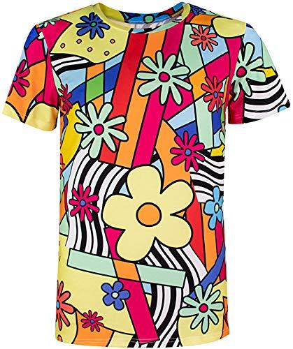 COSAVOROCK 60er 70er Jahre Retro Flower Kostüm T-Shirts für Herren Blumen M