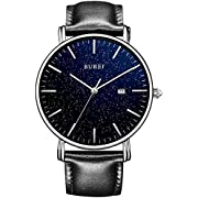 BUREI Men Watches Ultra Thin Women Quartz Analog Wristwatch Date Calendar and Black Leather Band