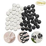 Corrines - Paquete de 200 cierres de silicona para tiras elásticas, tope de cordón ajustable, para cordón elástico, antideslizante, de forma redonda para cuerda elástica suave