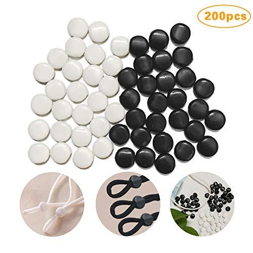 Corrines 200 Stück Kordelstopper aus Silikon für Kordelzüge, elastische Kordel-Einsteller, rutschfester Stopper, runde elastische Verstellschnalle, weiches Seil.