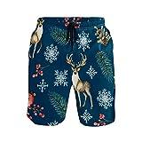 BONIPE Bañador para hombre, diseño de ciervo con pinzones de corchos, secado rápido, con cordón y bolsillos, talla S