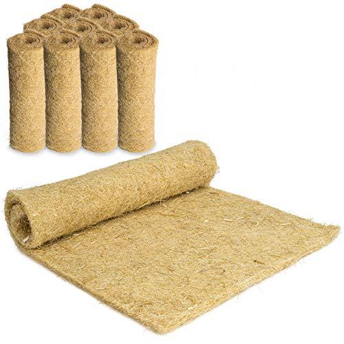 Tapis pour rongeurs 100 % chanvre - 40 x 25 cm - Épaisseur 5 mm - Lot de 10 tapis en chanvre pour tous les types de petits animaux