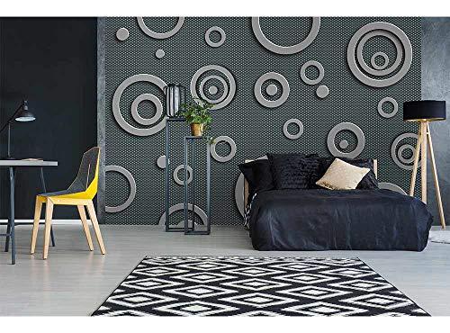 Vlies Fotobehang METALEN CIRKELS | Niet-Geweven Foto Mural | Wall Mural - Behang - Reusachtige Wandposter | Premium Kwaliteit - Gemaakt in de EU | 375 cm x 250 cm