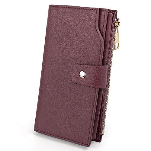 UTO UTO Damen RFID Blocking große Kapazität Vegane Leder Clutch Wallet 21 Card Slots Halter Organizer Damen Veganse mit Armband Lila