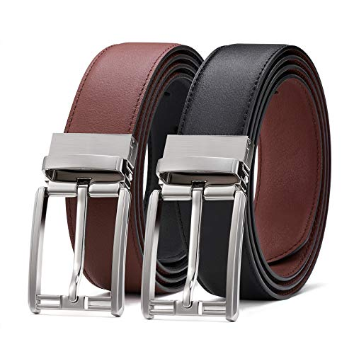 Mens Reversible Leather Belt, BESTKEE Leather Belts for men 1.3' Wide with...