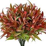 wczzh Fleurs artificielles 8 PCS Faux Rouge Spray Matin Gloire Plantes Arbustes Verdure Bouquet pour Votre Maison Cuisine Centres De Table Arrangements Intérieur Extérieur Automne Décorations/Rouge