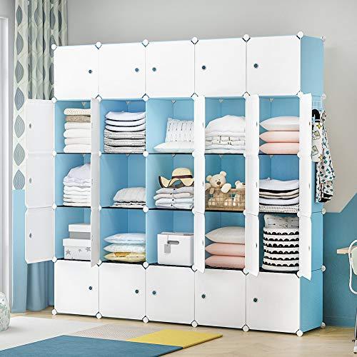 YOZO Portable Closet Wardrobe Cube Storage Chest of Drawer Cube Organizer Shelving Unit Multifunction Toy Cabinet Bookshelf DIY Furniture Blue 25 Cubes