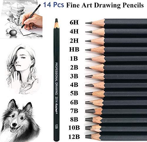 KEYDI Zeichenstift-Set, 14-teilig, Graphit-Bleistifte, 12B, 10B, 8B, 7B, 6B, 5B, 4B, 3B, 2B, B, HB, 2H, 4H, 6H, professionelles Bleistift-Set für Studenten, Künstler, Lehrer.