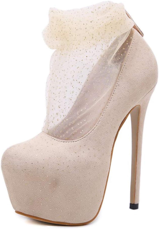 ZPL Stiefel Damen Damen Damen Pumps Hochzeitsschuhe Stiletto High Heel Plateau Schlüpfen Runder Zeh Mesh Hochzeit Schuhe Party Kleid Stöckelschuhe Schuhe  a2fc72