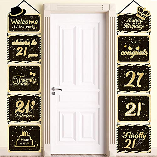 Large Glittery 21th Birthday Sign, Finally 21 Happy Birthday Cutouts Hanging Banner, Sparkling 21th Welcome Sign, 21th Birthday Porch Sign Party Supplies Decorations for Wall Door Apartment