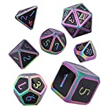 Set de Dados de rol Poliédrico Dice Set, 7 Piezas Juego de Dados DND Aleación de Metal RPG D&D Dados Juegos de rol Dados para Dungeons and Dragons Juego de Mesa (Colorful - Black)