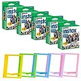 FUJIFILM INSTAX Wide Instant Film + Plastic Photo Frames (Blue, Green, Pink, Yellow & Purple  Deluxe Bundle (100 Film)