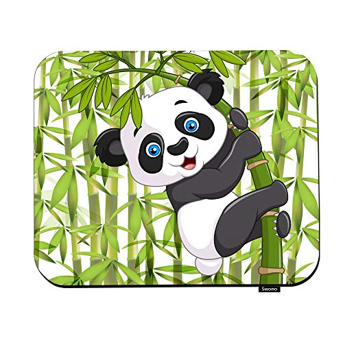 Swono Panda Mouse Pads Cartoon Cute Funny Baby Panda Hanging On The Bamboo Mouse Pad for Laptop Funny Non-Slip Gaming Mouse Pad for Office Home Travel Mouse Mat 7.9'X9.5'