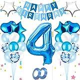 Bola ,Cumpleaños azul,Globos azules metalizados,Globo gigante de aluminio,globos de papel de feliz cumpleaños,Decoración feliz cumpleaños número,Decoración feliz cumpleaños ,Decoración del número (4)