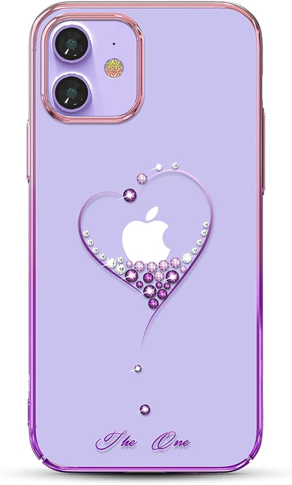 KINGXBAR Luxury Heart Series Case Clear Protective Cover with Sparkle Crystals from Austria Compatible with Apple iPhone 12 and iPhone 12 Pro, 6.1 inch, Gold Plated Hard PC Skin Covers Glitter Purple