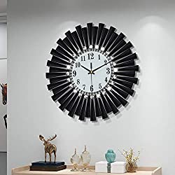 Fleble Modern 14 inch Metal Wall Clock White Dial with Arabic,Non-Ticking Silent Digital Clock Home Decor for Living Room,Bedroom,bedrooms Kitchen and Small Areas Space
