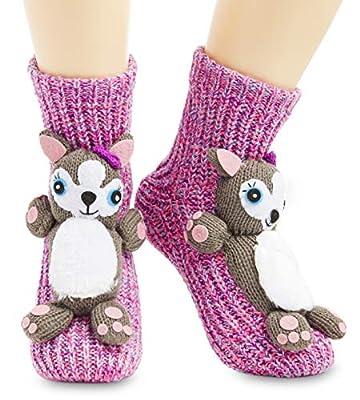 CityComfort Calcetines Antideslizantes Mujer, Zapatillas de Casa Punto Invierno Mullidos de Animales Unicornio Pingüino Gato, Calcetín Gordo Mujer Suave, Regalos Para Mujeres Niñas (Rosa)
